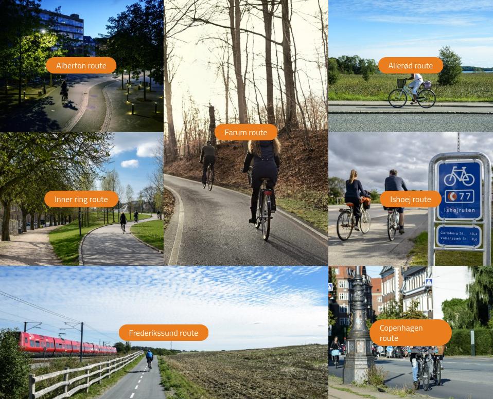 Kopenhaageni ja lähiümbruse jalgratta kiirteede võrgustik Supercykelstier. Allikas: http://supercykelstier.dk